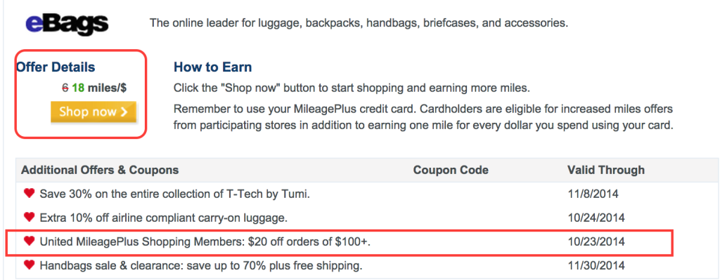Get $20 Off and Earn 18 Miles Per Dollar