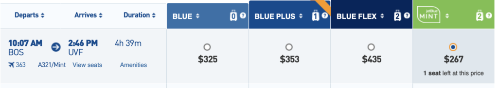 jetblue mint cheap