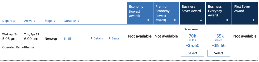 united awards for business class to europe